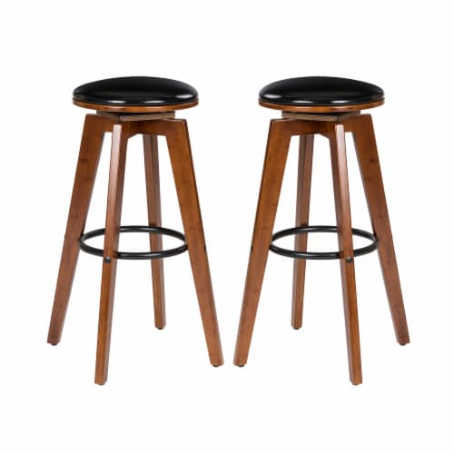 Glitzhome Swivel Natural bamboo Upholstery Bar Stool Perspective: front