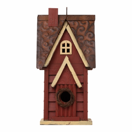 Glitzhome Hanging Distressed Wooden Cottage Birdhouse - Red Perspective: front