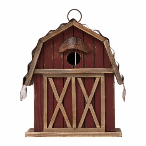 Glitzhome Hanging Wood Red Barn Outdoor Bird House Perspective: front