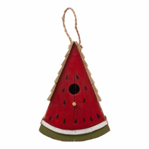 Glitzhome Hanging Wooden Watermelon Decorative Garden Birdhouse Perspective: front