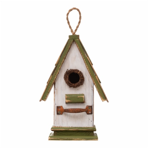 Glitzhome Hanging Wooden Green Roof Decorative Garden Birdhouse Perspective: front