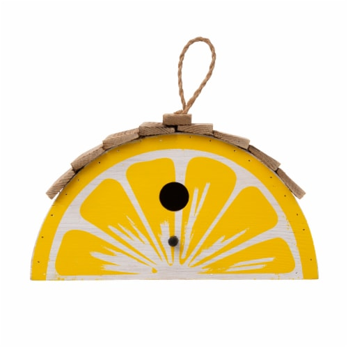 Glitzhome Hanging Wooden Lemon Decorative Garden Birdhouse - Yellow/White Perspective: front