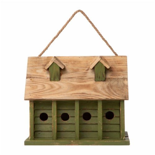 Glitzhome Hanging Wooden Distressed Garden Birdhouse - Green Perspective: front