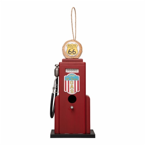 Glitzhome Hanging Wood Gas Pump Birdhouse - Red Perspective: front