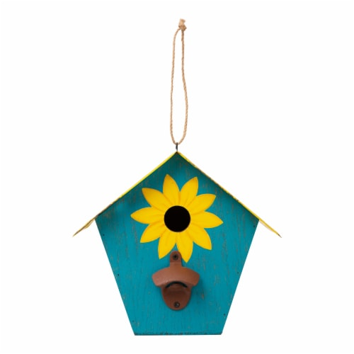 Glitzhome Wooden and Metal License Plate Birdhouse - Blue/Yellow Perspective: front