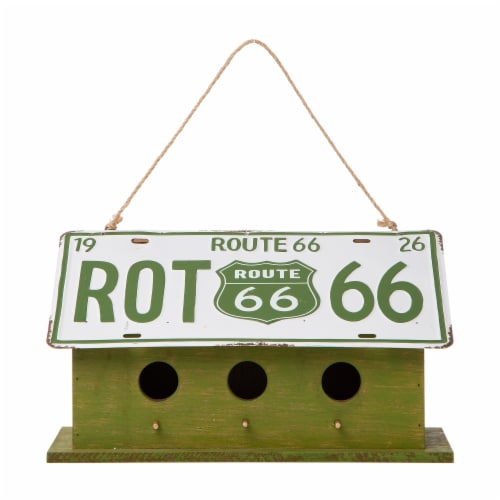 Glitzhome Hanging Wooden and Metal License Plate Garden Birdhouse - Green/White Perspective: front