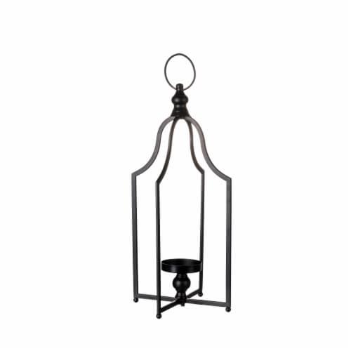 Glitzhome Modern Farmhouse Metal Decorative Lantern - Black Perspective: front
