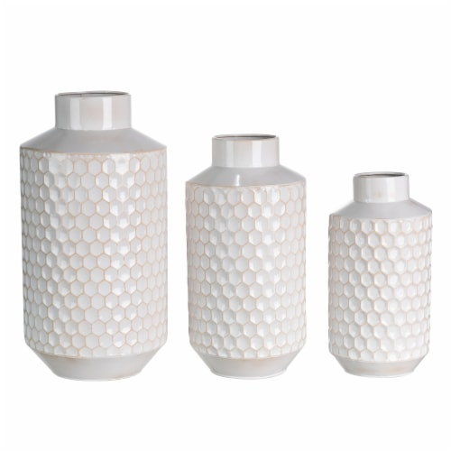 Glitzhome Farmhouse Decorative Beehive Metal Vases - White Perspective: front