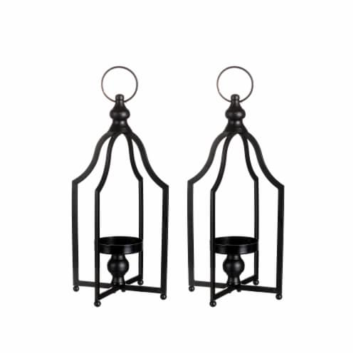 Glitzhome Modern Farmhouse Metal Decorative Lantern - 2 Pack - Black Perspective: front