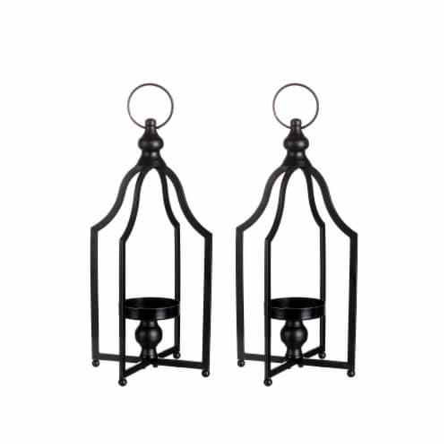 Glitzhome Modern Farmhouse Metal Decorative Lantern - 2 Pack - Black Perspective: front