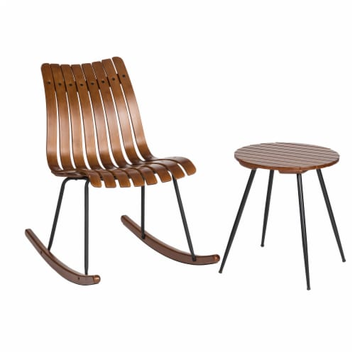 Glitzhome Accent Table and Bamboo Rocking Chair Set Perspective: front