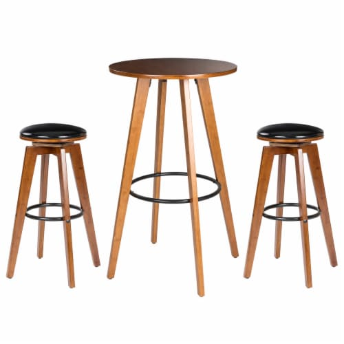 Glitzhome Bamboo Pub Table and Bar Stools Set Perspective: front