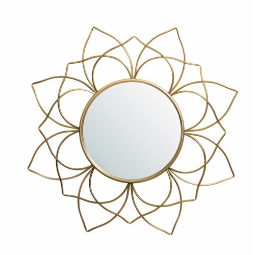 Glitzhome Oversized Modern Glam Lotus Wall Mirror - Gold Perspective: front