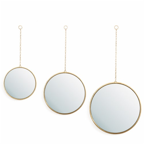 Glitzhome Regency Modern Gold Metal Chain Hanging Mirrors Perspective: front