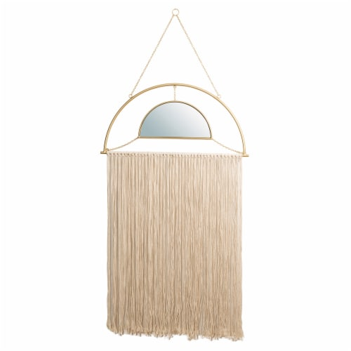 Glitzhome Regency Modern Boho Mirror with Tassels Perspective: front