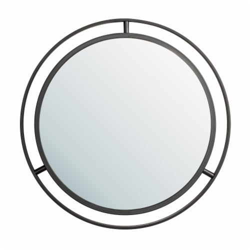 Glitzhome Deluxe Metal Round Wall Mirror - Black Perspective: front