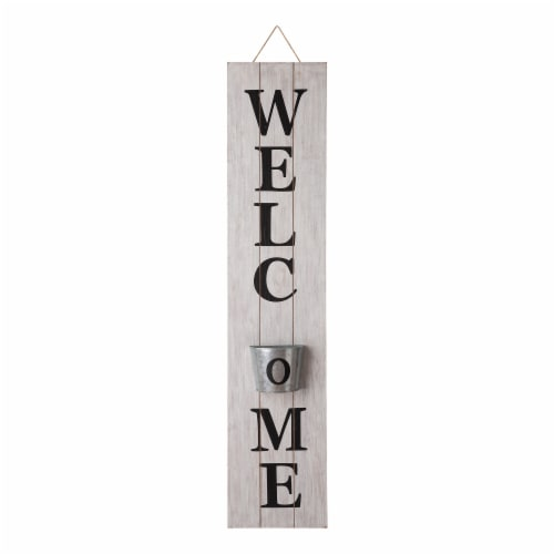 Glitzhome Wooden Welcome Porch Sign with Metal Planter - White Perspective: front