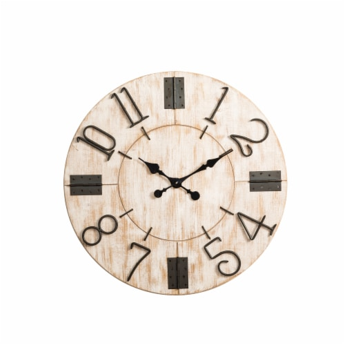 Glitzhome Oversized Farmhouse Round Wall Clock - White Perspective: front