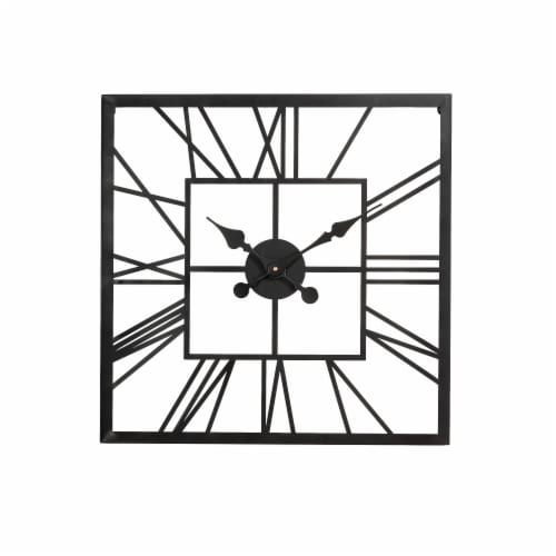 Glitzhome Modern Industrial Metal Square Wall Clock - Black Perspective: front