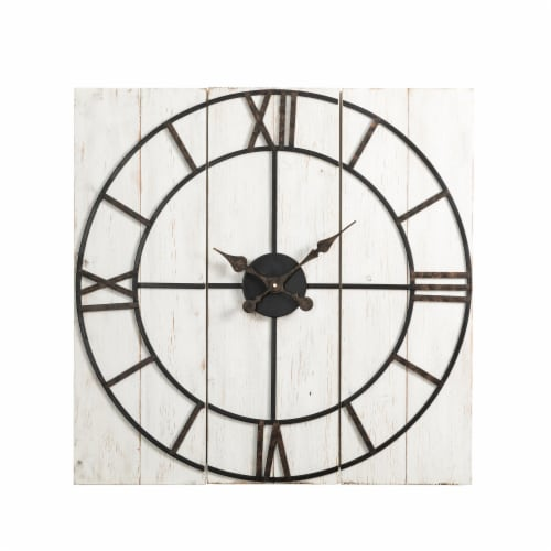 Glitzhome Oversized Farmhouse Round Wall Clock Perspective: front