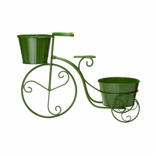 Glitzhome Metal Bicycle Pot Standd - Green Perspective: front