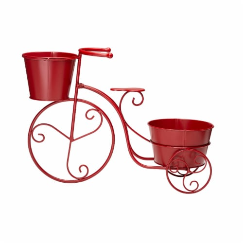 Glitzhome Metal Bicycle with Pots Plant Stand - Red Perspective: front