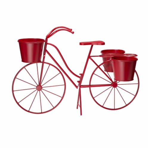 Glitzhome Oversized Metal Bicycle with Pots Plant Stand - Red Perspective: front