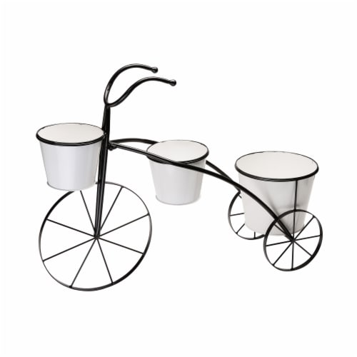 Glitzhome Metal Enamel Bicycle Planter Stand - Black/White Perspective: front