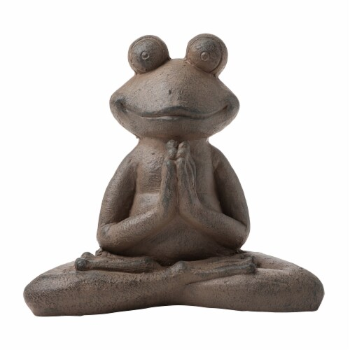 Glitzhome Frog with Yoga Pose Decorative Statue Perspective: front