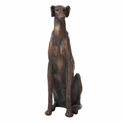Glitzhome Sitting Greyhound Dog Statue Perspective: front