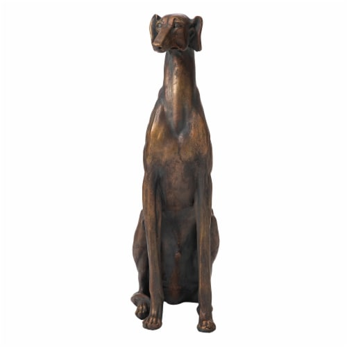 Glitzhome Sitting Greyhound Dog Decorative Statue Perspective: front