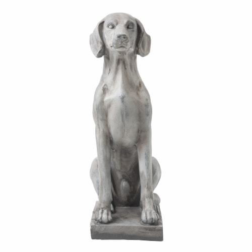 Glitzhome Sitting Labrador Retriever Dog Statue - Beige Perspective: front