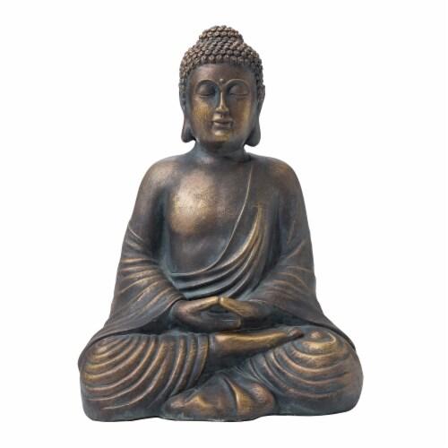 Glitzhome Meditating Buddha Garden Statue Perspective: front