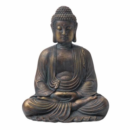 Glitzhome Meditating Buddha Decorative Garden Statue Perspective: front