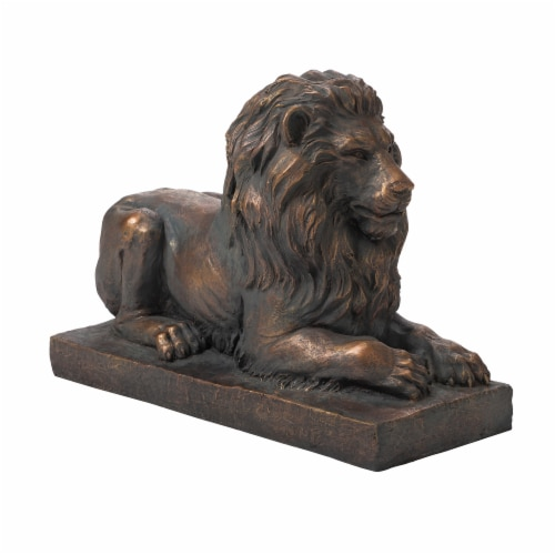 Glitzhome Lying Guardian Lion Garden Statue Perspective: front