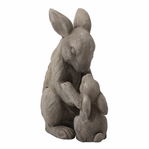Glitzhome Sweet Sitting Mother and Baby Rabbits Statue Perspective: front