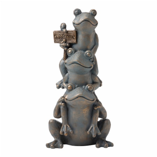 Glitzhome Stacked Frog Statue - Bronze Perspective: front