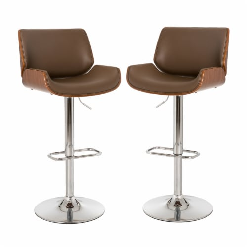 Glitzhome Adjustable Height Swivel Bar Stool Pair - Brown Perspective: front