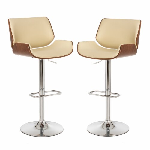 Glitzhome Adjustable Height Swivel Bar Stools - Beige Perspective: front