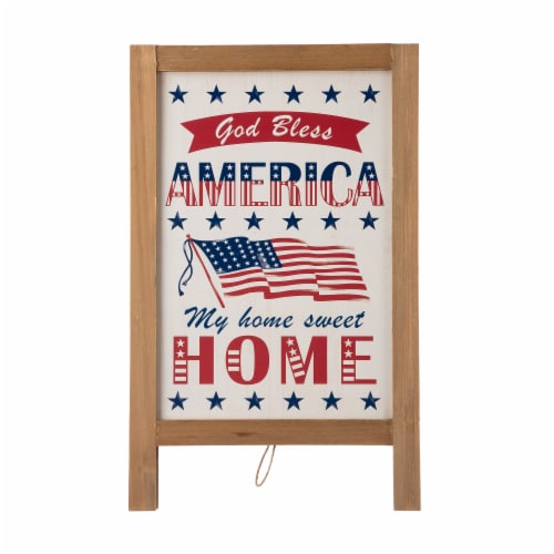 Glitzhome Patriotic Wooden Porch Sign Standing/Hanging Decor Perspective: front