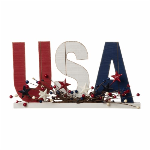 Glitzhome Patriotic Wooden USA Table Decor Perspective: front