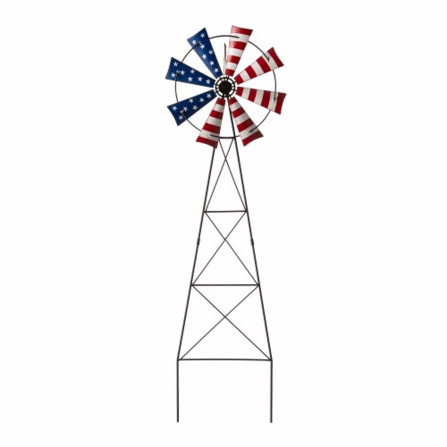 Glitzhome Patriotic Metal Wind Spinner Yard Stake/Wall Sign Perspective: front