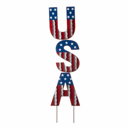Glitzhome Patriotic Metal USA Yard Stake Perspective: front