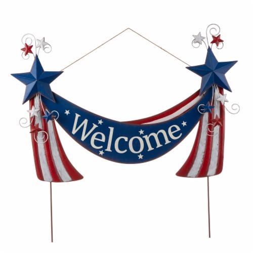 Glitzhome Patriotic Welcome Metal Yard Stake/Wall Sign Perspective: front
