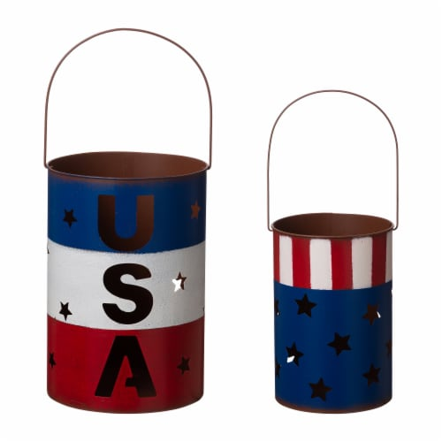 Glitzhome Patriotic USA Metal Cut-Out Star Lantern Set Perspective: front