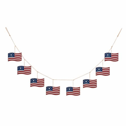 Glitzhome American Patriotic Metal National Flag Garland Perspective: front