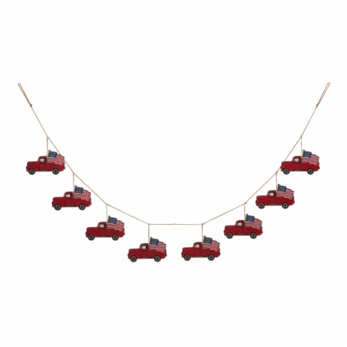Glitzhome American Patriotic Metal Red Truck Garland Perspective: front