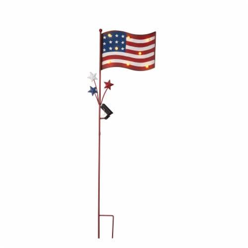 Glitzhome Patriotic Metal Flag Illuminated Yard Stake/Wall Sign Perspective: front