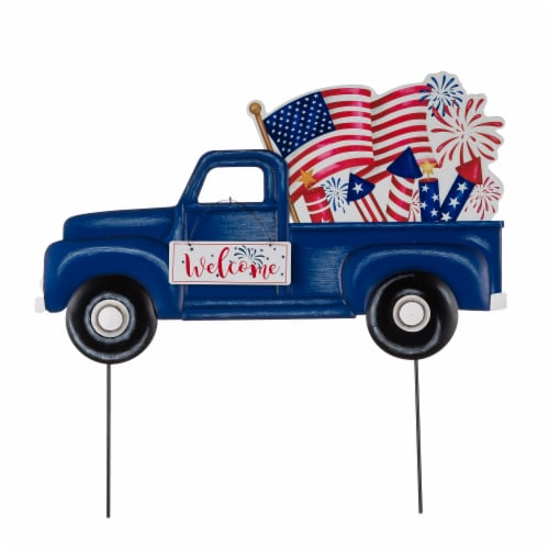 Glitzhome Americana Metal Truck Yard Stake/Wall Sign Perspective: front