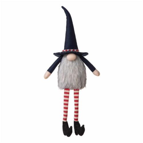 Glitzhome Patriotic Stuffed Fabric Mantel Sitter Gnome Perspective: front